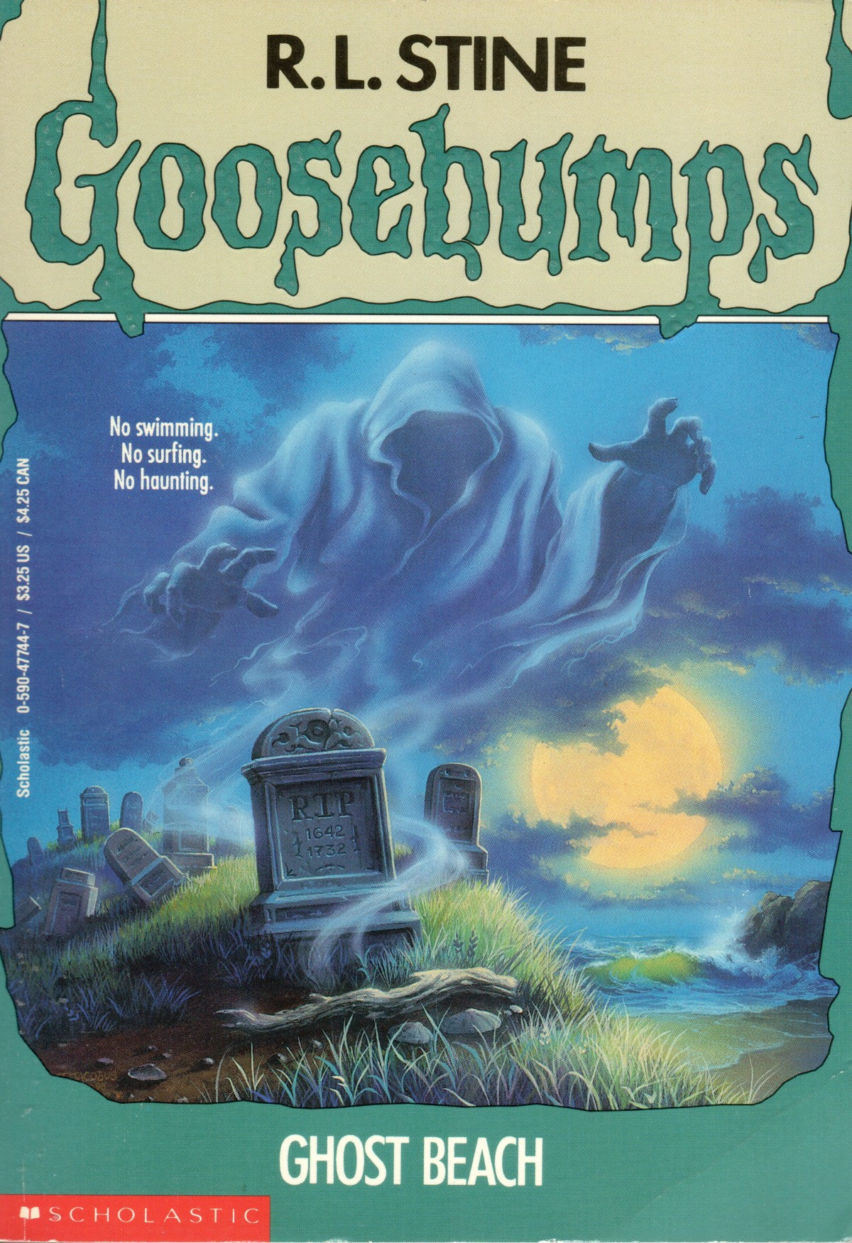A spooky ghost hovers over a graveyard next to a each.